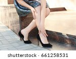 young woman suffering from leg... | Shutterstock . vector #661258531