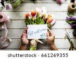 hand holding show get well soon ... | Shutterstock . vector #661269355