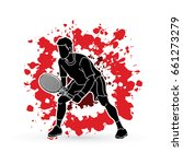 tennis player action   man play ... | Shutterstock .eps vector #661273279