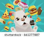 cat thinking about fast food | Shutterstock .eps vector #661277887