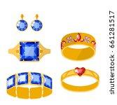 traditional golden jewellery... | Shutterstock .eps vector #661281517