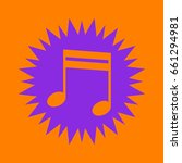 music note icon. violet spiny...