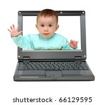 small laptop with cute baby... | Shutterstock . vector #66129595