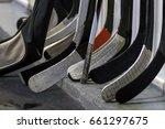 hockey sticks near the locker... | Shutterstock . vector #661297675