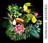 toucans and strelitzia   in... | Shutterstock .eps vector #661322821