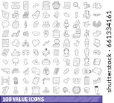 100 value icons set in outline... | Shutterstock .eps vector #661334161