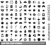100 tea cup icons set in simple ... | Shutterstock .eps vector #661334221