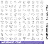 100 reward icons set in outline ... | Shutterstock .eps vector #661334959