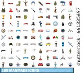 100 manmade icons set in... | Shutterstock .eps vector #661335697