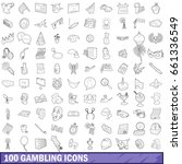 100 gambling icons set in... | Shutterstock .eps vector #661336549