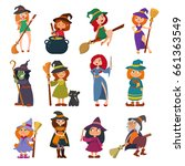 cute little witch hag harridan... | Shutterstock .eps vector #661363549