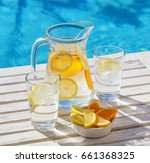 a jar and two glasses of... | Shutterstock . vector #661368325