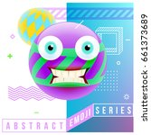 abstract cute shocked emoji... | Shutterstock .eps vector #661373689