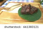 brownies served on a wooden tray | Shutterstock . vector #661383121