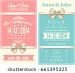 wedding invitation with gold... | Shutterstock . vector #661395325