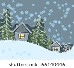 winter scene with houses and... | Shutterstock .eps vector #66140446