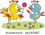 vector cartoon of two birds... | Shutterstock .eps vector #66142087
