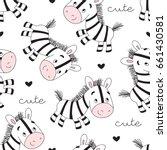 seamless zebra pattern vector... | Shutterstock .eps vector #661430581