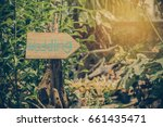 wooden signboard with the... | Shutterstock . vector #661435471
