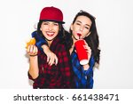 young hipster girls having fun... | Shutterstock . vector #661438471