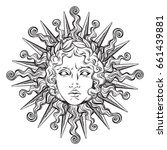 hand drawn antique style sun... | Shutterstock .eps vector #661439881