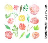 set of hand painted watercolor... | Shutterstock . vector #661449685
