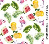 seamless pattern with tropical...   Shutterstock .eps vector #661451437