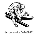 worker fitting pipes   retro... | Shutterstock .eps vector #66145897