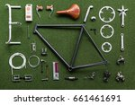 vintage bicycle frame and parts ...   Shutterstock . vector #661461691