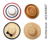 straw hats with ribbon and bow... | Shutterstock . vector #661465807