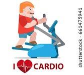 man exercising on cardio... | Shutterstock .eps vector #661475941