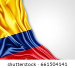 colombia flag of silk with... | Shutterstock . vector #661504141