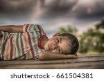 little boy unhappy sleeping... | Shutterstock . vector #661504381