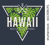 hawaii tee print with with... | Shutterstock .eps vector #661508191