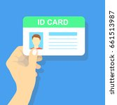 hand holding the id card.... | Shutterstock .eps vector #661513987
