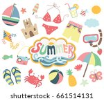 happy summer day collections | Shutterstock .eps vector #661514131