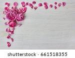 Roses Frame On White Wooden...