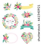 set of cute vintage elements as ... | Shutterstock . vector #661540921