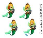 set of mermaids broke the magic ... | Shutterstock .eps vector #661543579