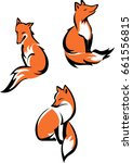 fox sitting in different poses | Shutterstock .eps vector #661556815