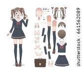 anime manga schoolgirl in a... | Shutterstock .eps vector #661562089