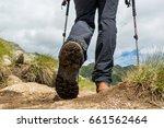 Closeup Of Hiking Boots.