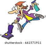 cartoon woman cleaning excitedly | Shutterstock .eps vector #661571911