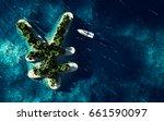 success way. tropical island in ... | Shutterstock . vector #661590097