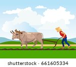 farmer plowing paddy field with ... | Shutterstock .eps vector #661605334