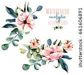 set of watercolor pink flowers  ... | Shutterstock . vector #661606891