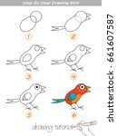 drawing tutorial. step by step... | Shutterstock .eps vector #661607587