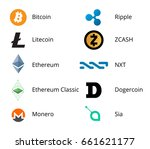 most popular cryptocurrency... | Shutterstock .eps vector #661621177
