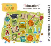 back to school set on the... | Shutterstock . vector #661630615