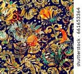 floral seamless pattern ... | Shutterstock .eps vector #661653364